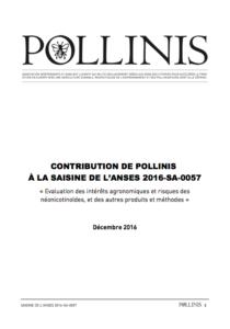 CONTRIBUTION DE POLLINIS À LA SAISINE DE L'ANSES 2016-SA-0057
