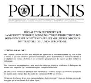 DÉCLARATION DE PRINCIPE ABEILLES MELLIFÈRES INDIGÈNES UE