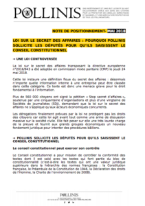Loi secret des affaires note de positionnement