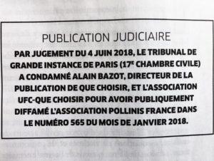publication judiciaire publication judiciaire UFC QUE CHOISIR