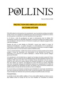 Réintroduction d'un amendement pour la protection légale des abeilles locales en Europe POLLINIS obtient la réintroduction de l'amendement pour la protection juridique des abeilles locales et lance une campagne de mobilisation pour que la Commission européenne se saisisse de cette question cruciale pour l'avenir de l'apiculture et de l'agriculture.