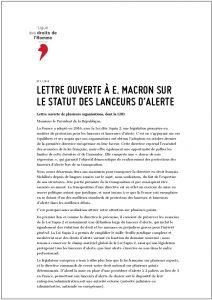 lettre ouverte à e. macron sur le statut des lanceurs d'alerte - ligue des droits de l'homme